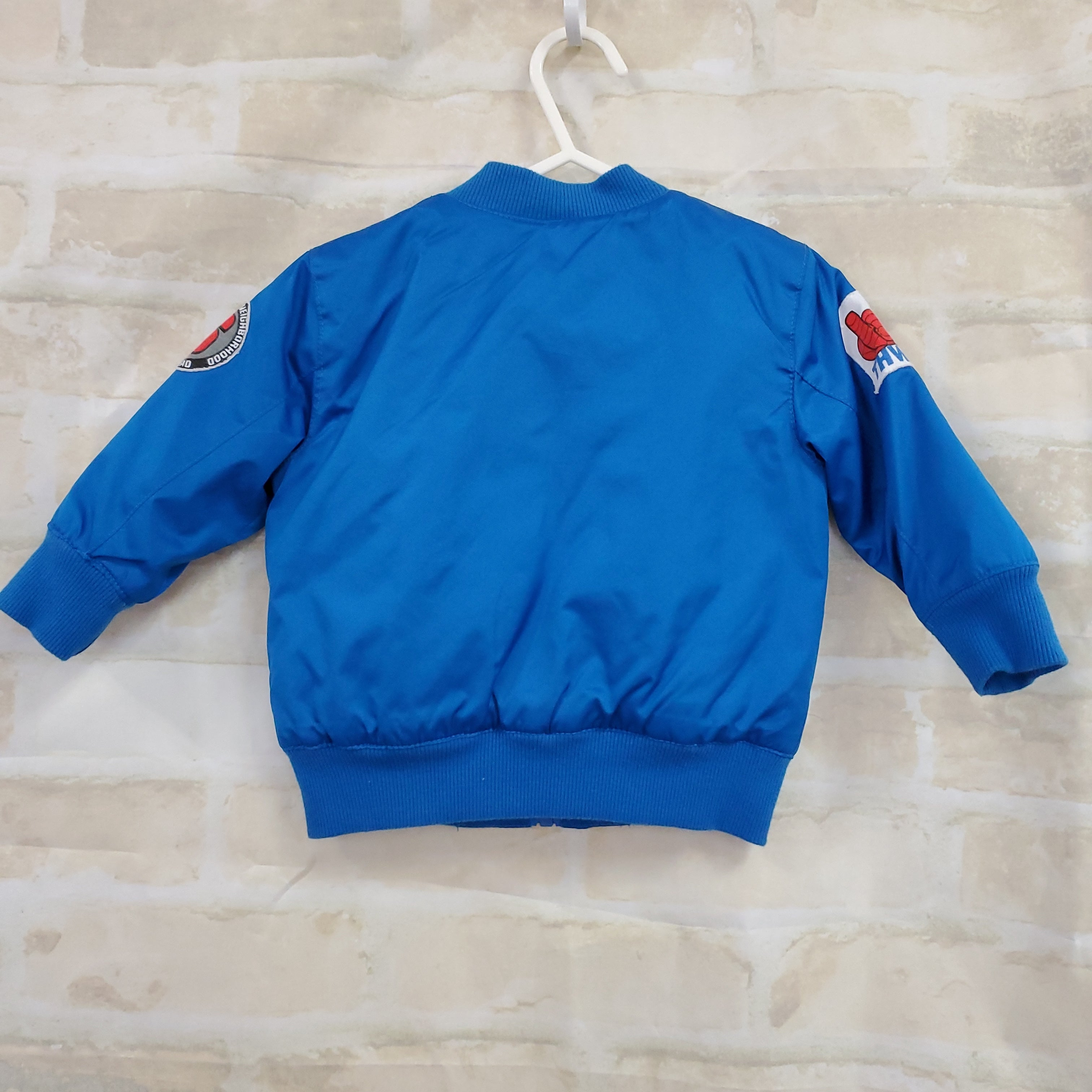Marvel Spiderman boys jacket blue nylon quilted zips 12m