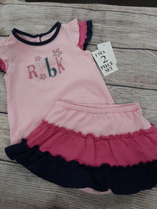 2pc NWT Reebok Girls 12mo Outfit Dress Pink Navy