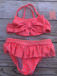 Cat & Jack Girls 2pc Orange Polka Dot 2pc Swimsuit sz 2T