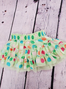 The Childrens Place ,baby girls skirtlime green with colored polka-dot ,has bloomers attached