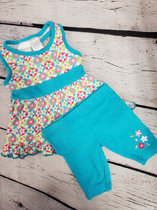 Miniwear baby girls 2pc set,sleeveless top with capris sz 3-6 months