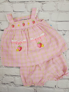Youngland girls 2pc dress with bloomers  sz 0-3m