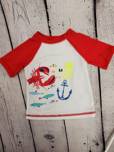 Cat &Jack boys swim top red/white sz12m