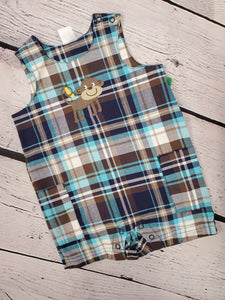 Carter's boys romper plaid 3m