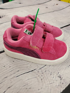 Puma girl tennis shoes velcro pink 5