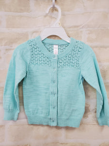 Cherokee baby girls sweater button up teal 12m
