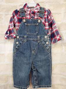 Healthtex boys overalls/shirt set denim flannel 3-6