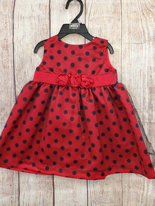 Park Bench Kids baby girl dress red with black polka dots 6-9