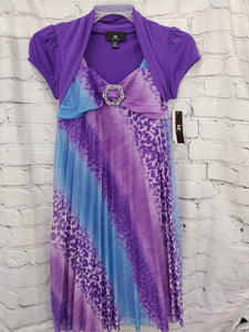 Amy Byer girls New dress purple top purple print dress 14