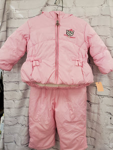 Zero Xposur girls 2pc snowsuit pink/brown spots lined jacket hooded snowpants 18m