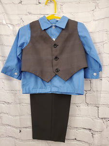 Happy Fella baby boy 3pc suit set blue shirt gray vest black pants 18m