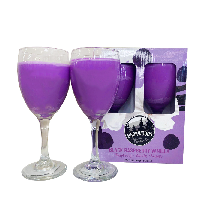 Black Raspberry Wine Glass Set