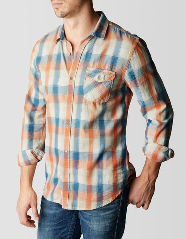 SINGLE POCKET PLAID TWILL MENS SHIRT