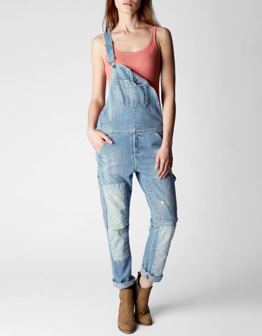 ERIN ROLLED CROP RELAXED DENIM WOMENS OVERALL