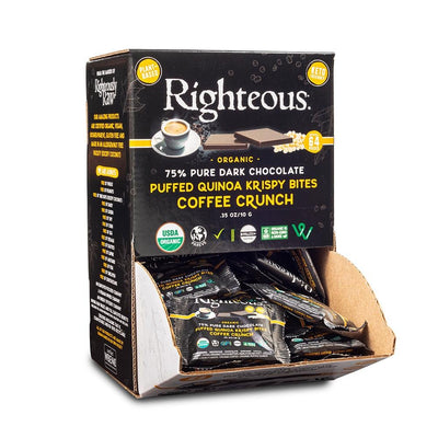 Vegan Puffed Quinoa coffee Bites - 75% Pure Dark Chocolate - Righteous Cacao
