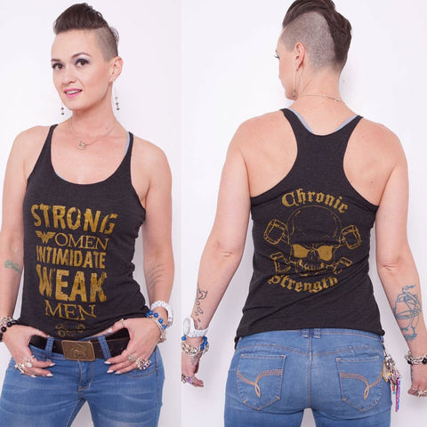 Strong Women Intimidate Weak Men Racerback Tank