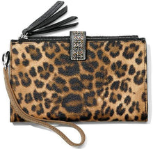 Load image into Gallery viewer, Brighton Leopard Print Double Zip Wallet