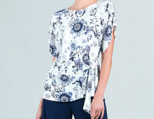 Load image into Gallery viewer, Clara Sun Woo Floral Emblem Print Textured Side Tie Waist Top