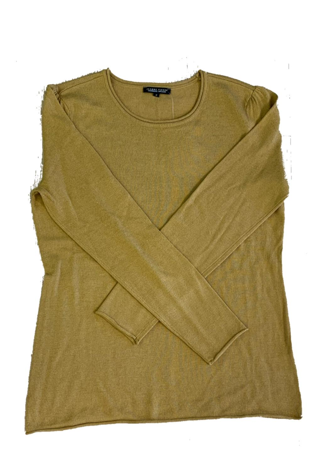 Jeanne Pierre 5% Cashmere Crew Gold Sweater