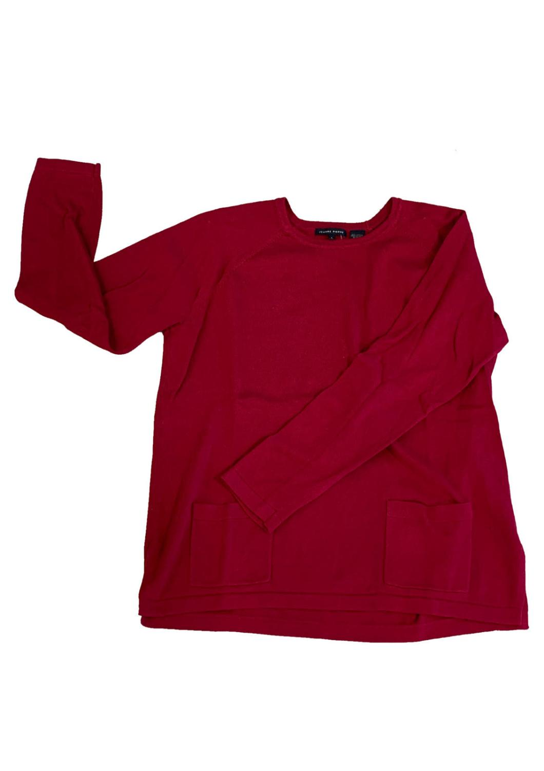Jeanne Pierre Two Pocket Carmine Sweater