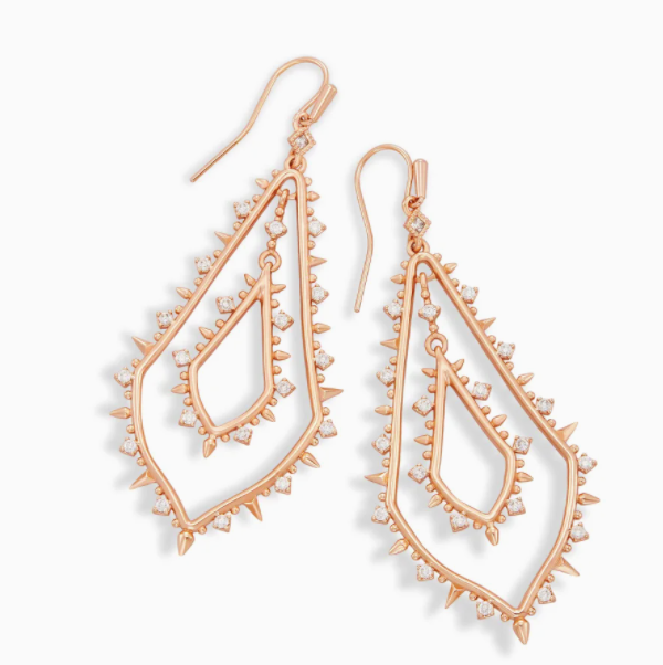 Kendra Scott Alice Rose Gold White Earring