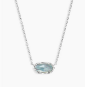 Kendra Scott Elisa Rhodium Light Blue Illusion Necklace