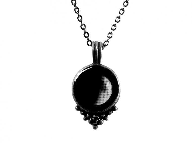 Moonglow Phase 2D Pewter Necklace
