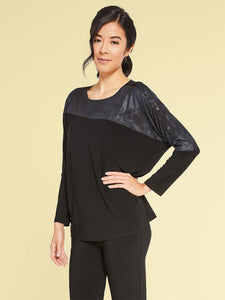 Sympli Storm Boxy Top in Pewter Foil & Black