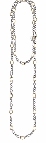 Waxing Poetic Twisted Link Necklace - Brass 30''