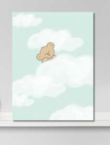 poster babykamer beer in wolken mintgroen - canvas