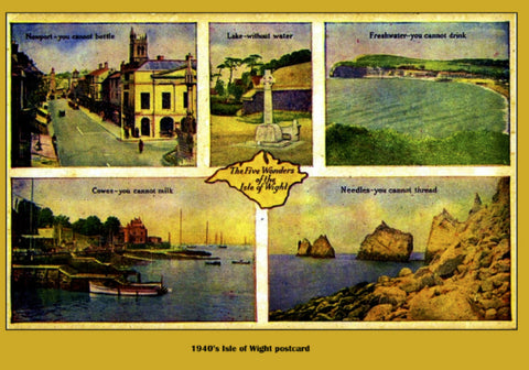 Five Wonders of the Isle of Wight repro 1940's postcard