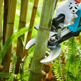 Cut the green bamboo with an electric pruner