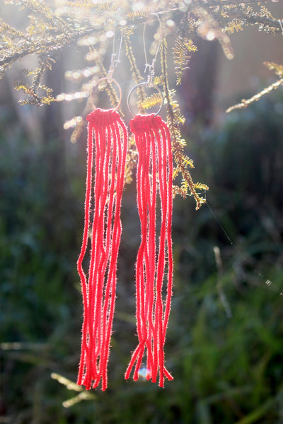 Tāniko Earrings - Red on Red