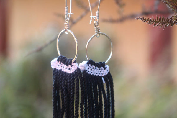 Tāniko Earrings - White on Black