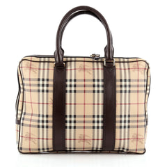 Burberry Briefcase Haymarket Coated Canvas Large