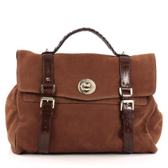 Mulberry Fox Lock Satchel Nubuck Large