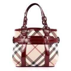 Burberry Belted Chain Tote Nova Check Coated Canvas Large