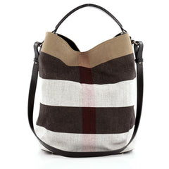 Burberry Ashby Handbag Mega Check Canvas Medium