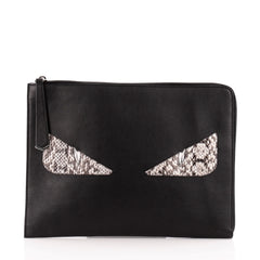 Fendi Monster Clutch Leather with Python Medium