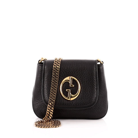 61d902fa72e Buy Gucci 1973 Crossbody Bag Leather Small Black 1029801 – Rebag