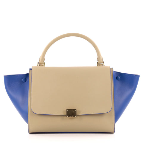 b416aa10baf0 Buy Celine Bicolor Trapeze Handbag Leather Medium Blue 1036201 – Rebag