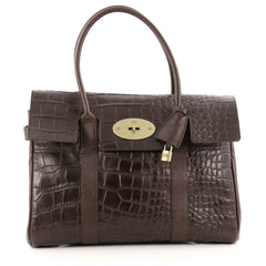 Mulberry Bayswater Satchel Crocodile Embossed Leather Medium