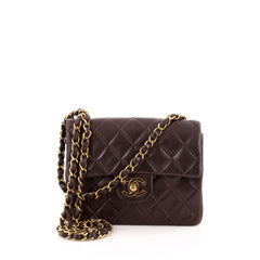 Chanel Vintage Square Classic Single Flap Bag Quilted Leather Mini