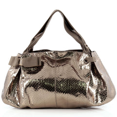 Salvatore Ferragamo Miss Vara Bow Satchel Metallic Python