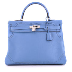 Hermes Kelly Ghillies Handbag Blue Paradis Clemence and Evercolor with Palladium Hardware 35