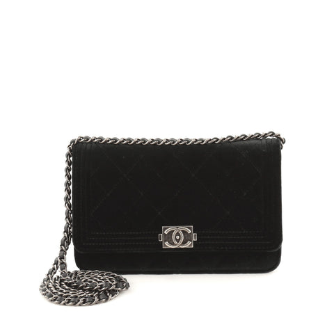 7fae66c0fc6fc4 Buy Chanel Boy Wallet on Chain Quilted Velvet Black 1051801 – Rebag