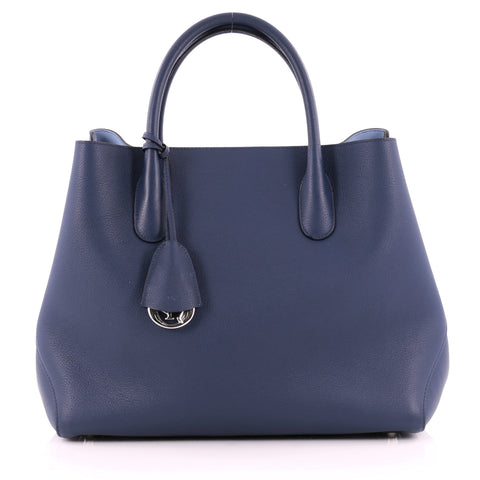 Buy Christian Dior Open Bar Bag Leather Large Blue 1057501 – Rebag ff0ec00efaabd