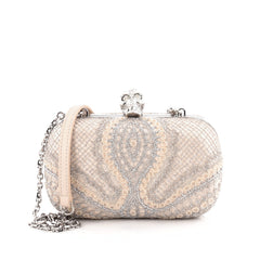 Alexander McQueen Skull Box Clutch Lace and Satin Small