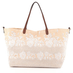 Valentino Open Tote Lace and Bead Embellished Canvas Large