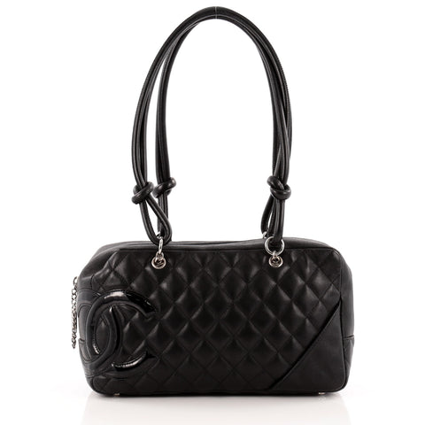 e5bf51fbe981 Buy Chanel Cambon Bowler Bag Quilted Leather Medium Black 1073401 – Rebag